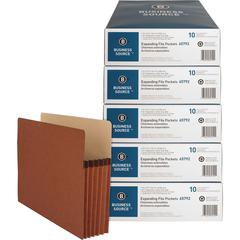 """Business Source Redrope Letter Expanding File Pocket - Letter - 8 1/2"""" x 11"""" Sheet Size - 1200 Sheet Capacity - 5 1/4"""" Expansion - Redrope, Stock - Redrope - Recycled - 50 / Carton"""