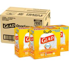 "Glad Aloha Scent 13-gal Tall Drawstrng Bags - 13 gal - 24"" Width x 27.38"" Length x 0.78 mil (20 Micron) Thickness - White - 240/Carton - Kitchen"