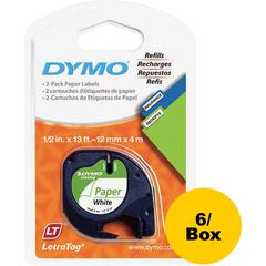 "Dymo LetraTag Electronic Labelmaker Tape - 1/2"" Width x 13 ft Length - Direct Thermal - White - Paper - 6 / Box"