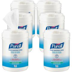"PURELL® Alcohol Hand Sanitizing Wipes - 6"" x 7"" - White - Moisturizing, Durable, Lint-free, Textured, Fragrance-free, Dye-free, Non-sticky, Residue-free, Anti-septic, Hypoallergenic, Non-irritatin"