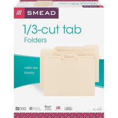 "Smead 1/3 Cut Tab Manila File Folders - Letter - 8 1/2"" x 11"" Sheet Size - 3/4"" Expansion - 1/3 Tab Cut - Assorted Position Tab Location - 11 pt. Folder Thickness - Manila - Manila - Recycled - 500 /"