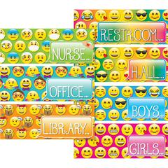 "Ashley Emoji Design Decorative Hall Pass - Emoji - Pre-punched, Durable, Laminated, Long Lasting - 0.10"" Height x 3.50"" Width x 9"" Depth - Assorted - 7 / Set"