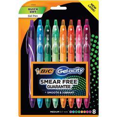 BIC America Gel-ocity Retractable Pen - Medium Point Type - 0.7 mm Point SizeGel-based Ink - 8 / Pack