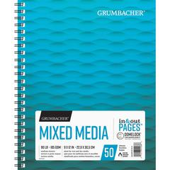 """Grumbacher Mixed Media Wire-bound Notebook - 50 Sheets - Wire Bound - 90 lb Basis Weight - 9"""" x 12"""" - Acid-free - 1Pad"""