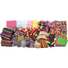 "Creativity Street Craft Activities Box - Craft, Collage - 12.9"" x 12.7""18.4"" - 1 Box - Assorted - Chenille, Foam, Felt"