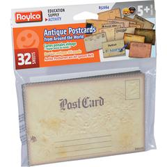 Roylco Antique Post Cards - Theme/Subject: Learning - Skill Learning: History, Exploration, Drawing, Writing - 32 Pieces - 5+