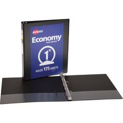 "Avery&reg Round Ring Economy View Binder - 1"" Binder Capacity - Letter - 8 1/2"" x 11"" Sheet Size - 175 Sheet Capacity - Round Ring Fastener(s) - 2 Internal Pocket(s) - Vinyl, Chipboard - Black - Recyc"