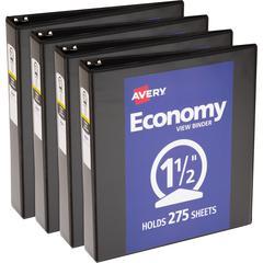 "Avery Round Ring Economy View Binder - 1 1/2"" Binder Capacity - Letter - 8 1/2"" x 11"" Sheet Size - 275 Sheet Capacity - Round Ring Fastener(s) - 2 Internal Pocket(s) - Vinyl, Chipboard - Black - Recyc"