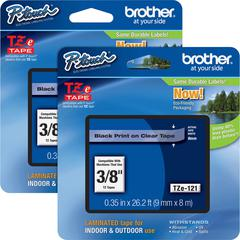 "Brother P-touch TZe Laminated Tape Cartridges - 3/8"" Width - Rectangle - Clear - 2 / Bundle"