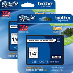"Brother P-touch TZe Laminated Tape Cartridges - 1/4"" Width x 26 ft Length - Rectangle - White - 2 / Bundle"