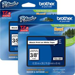 "Brother P-touch TZe Laminated Tape Cartridges - 3/8"" Width x 26 1/5 ft Length - Rectangle - White - 2 / Bundle"