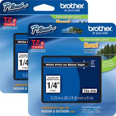 "Brother P-touch TZe Laminated Tape Cartridges - 1/4"" Width x 26 1/4 ft Length - Rectangle - White - 2 / Bundle"