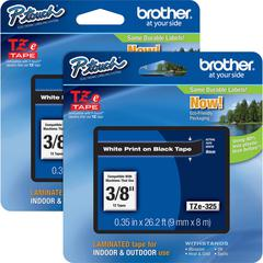"Brother P-touch TZe Laminated Tape Cartridges - 3/8"" Width - Rectangle - White - 2 / Bundle"