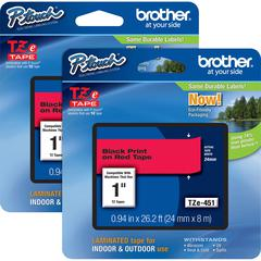 "Brother P-touch TZe Laminated Tape Cartridges - 15/16"" Width x 26 1/4 ft Length - Rectangle - Thermal Transfer - Black, Red - 2 / Bundle"