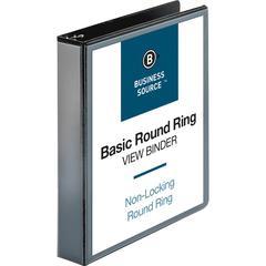 "Business Source Round Ring View Binder - 1 1/2"" Binder Capacity - Letter - 8 1/2"" x 11"" Sheet Size - 350 Sheet Capacity - Round Ring Fastener(s) - 2 Internal Pocket(s) - Chipboard, Polypropylene - Bla"