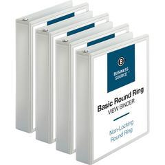 "Business Source Round Ring View Binder - 1 1/2"" Binder Capacity - Letter - 8 1/2"" x 11"" Sheet Size - 350 Sheet Capacity - Round Ring Fastener(s) - 2 Internal Pocket(s) - Chipboard, Polypropylene - Whi"