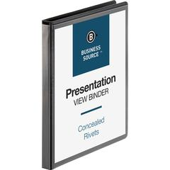"Business Source Standard View Round Ring Binders - 1/2"" Binder Capacity - Letter - 8 1/2"" x 11"" Sheet Size - 125 Sheet Capacity - Round Ring Fastener(s) - 2 Internal Pocket(s) - Chipboard - Black - Re"
