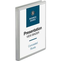 "Business Source Standard View Round Ring Binders - 1/2"" Binder Capacity - Letter - 8 1/2"" x 11"" Sheet Size - 125 Sheet Capacity - Round Ring Fastener(s) - 2 Internal Pocket(s) - Chipboard - White - Re"