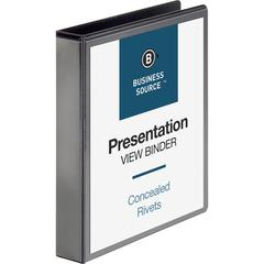 "Business Source Standard View Round Ring Binders - 1 1/2"" Binder Capacity - Letter - 8 1/2"" x 11"" Sheet Size - 350 Sheet Capacity - Round Ring Fastener(s) - 2 Internal Pocket(s) - Chipboard - Black -"