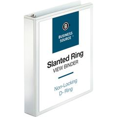 "Business Source Basic D-Ring White View Binders - 1 1/2"" Binder Capacity - Letter - 8 1/2"" x 11"" Sheet Size - 375 Sheet Capacity - 3 x Slant D-Ring Fastener(s) - Internal Pocket(s) - Chipboard, Polypr"