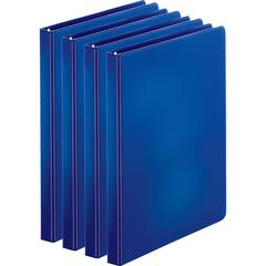"Business Source Basic Round Ring Binders - 1/2"" Binder Capacity - Letter - 8 1/2"" x 11"" Sheet Size - 125 Sheet Capacity - 3 x Round Ring Fastener(s) - Internal Pocket(s) - Chipboard, Polypropylene - D"