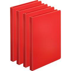 "Business Source Basic Round Ring Binders - 1/2"" Binder Capacity - Letter - 8 1/2"" x 11"" Sheet Size - 125 Sheet Capacity - 3 x Round Ring Fastener(s) - Internal Pocket(s) - Chipboard, Polypropylene - R"