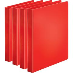"Business Source Basic Round Ring Binders - 1"" Binder Capacity - Letter - 8 1/2"" x 11"" Sheet Size - 225 Sheet Capacity - 3 x Round Ring Fastener(s) - Internal Pocket(s) - Chipboard, Polypropylene - Red"