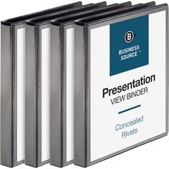 "Business Source Standard View Round Ring Binders - 1"" Binder Capacity - Letter - 8 1/2"" x 11"" Sheet Size - 225 Sheet Capacity - Round Ring Fastener(s) - 2 Internal Pocket(s) - Chipboard - Black - Recy"