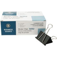 """Business Source Fold-back Binder Clips - Large - 1"""" Size Capacity - 120 / Bundle - Black - Steel"""