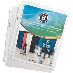 """Business Source Top-Loading Poly Sheet Protectors - For Letter 8 1/2"""" x 11"""" Sheet - 3 x Holes - Ring Binder - Top Loading - Rectangular - Clear - Polypropylene - 500 / Carton"""