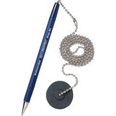 MMF Secure-A-Pen Counter Pen - Medium Pen Point - Refillable - Blue - 12 / Box