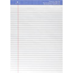"""Sparco Premium-grade Letter Size Legal Pad - 50 Sheets - Wire Bound - Both Side Ruling Surface - 0.34"""" Ruled - Legal Ruled - 16 lb Basis Weight - 8 1/2"""" x 11 3/4"""" - White Paper - Perforated, Grade, Bo"""