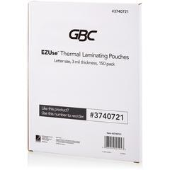 "Swingline GBC EZUse Thermal Laminating Pouches - Sheet Size Supported: Letter 8.50"" Width x 11"" Length - Laminating Pouch/Sheet Size: 3 mil Thickness - Glossy - for Document - UV Resistant, Durable -"