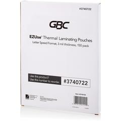 "Swingline GBC EZUse Thermal Laminating Pouches - Sheet Size Supported: Letter 8.50"" Width x 11"" Length - Laminating Pouch/Sheet Size: 3 mil Thickness - Glossy - for Document - UV Resistant - Clear - 1"
