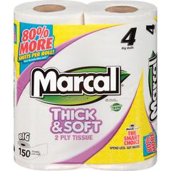 Marcal Thick & Soft Bath Tissue - 2 Ply - White - Hypoallergenic, Durable, Soft, Dye-free, Chlorine-free, Fragrance-free, Eco-friendly, Septic Safe - For Bathroom - 96 / Carton