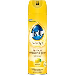 Pledge Lemon Clean Furniture Polish - 9.70 fl oz - Lemon Clean Scent - 12 / Carton - White