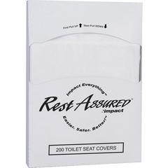 """Impact Products 1/4-fold Toilet Seat Covers - 8"""" Width x 10.25"""" Length - Quarter-fold - For Public Toilet - 200 / Pack - 5000 / Carton - Paper - White"""