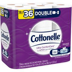 Cottonelle ComfortCare Bath Tissue - 2 Ply - White - Sewer-safe, Septic Safe, Flushable, Absorbent - For Bathroom - 18 / Pack