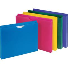 """Business Source Poly File Jacket - Letter - 8 1/2"""" x 11"""" Sheet Size - 1"""" Expansion - Straight Tab Cut - Polypropylene - Assorted - 10 / Pack"""