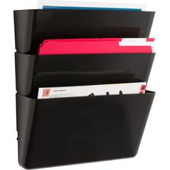"""Lorell Wall File Pockets - 14.8"""" Height x 13.1"""" Width x 4.3"""" Depth - Wall Mountable, Partition-mountable, Door-mountable, Cabinet, Desk Mountable - Black - 3 / Pack"""