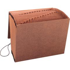 """Business Source Flap Closure 1-31 Heavy-duty Expand File - Letter - 8 1/2"""" x 11"""" Sheet Size - 31 Pocket(s) - Brown - Recycled - 1 Each"""