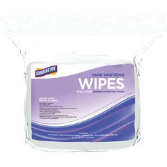 """Genuine Joe Alcohol-free Hand Sanitizing Wipes - 7"""" x 6"""" - White - Alcohol-free, Smooth, Lint-free, Non-abrasive - For Hand - 1200 / Bag"""