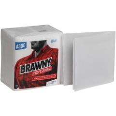 "Brawny Industrial A300 Disposable Towels - Quarter-fold - 12.50"" x 13"" - White - Paper - Absorbent, Disposable, Durable, Soft, Strong - 18 Rolls Per Bag - 1080 / Carton"