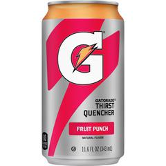 Quaker Oats Gatorade Can Flavored Thirst Quencher - Ready-to-Drink - Fruit Punch Flavor - 11.60 fl oz (343 mL) - Can - 24 / Carton