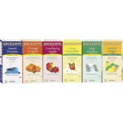 Bigelow Herbal Assortment Tea - Herbal, Citrus, Apple, Cranberry, Lemon, Sweet Dreams, Orange and Spice, Chamomile, Mint Medley, Ginger - 6 / Carton