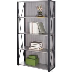 "Safco Mood Collection Small Office Bookcase - 31.8"" x 12"" x 59"" - 4 Shelve(s) - Material: Steel - Finish: Gray, Laminate, Black"