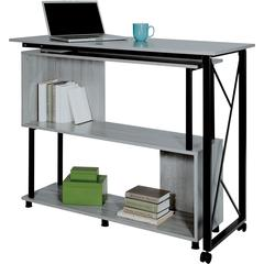"""Safco Mood Rotating Worksurface Standing Desk - Rectangle Top - 53.25"""" Table Top Width x 21.75"""" Table Top Depth - 42.25"""" Height - Assembly Required - Laminated, Gray - Powder Coated Steel"""