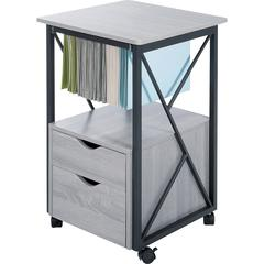 """Safco Mood Collection Office Storage Pedestal - 17.8"""" x 17.8"""" x 30"""" - 2 - 1 Shelve(s) - Material: Steel, Wood - Finish: Powder Coated, Laminate, Gray, Black"""