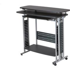 """Safco Scoot Standing-height Desk - Laminated, Black Rectangle Top - 47.25"""" Table Top Width x 20"""" Table Top Depth - 43.25"""" Height - Assembly Required"""