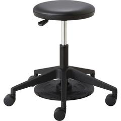 "Safco Low Height Lab Stool - Vinyl Seat - Black - 24.3"" Width x 24.3"" Depth x 22"" Height"